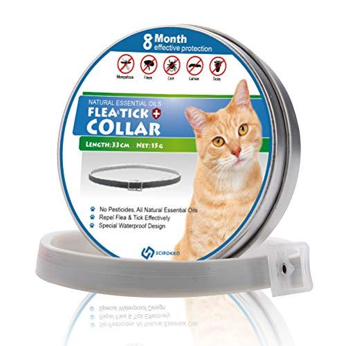 SCIROKKO Flohhalsband für Katzen, mit natürlichen ätherischen Ölen, Behandlung gegen Flöhe und Zecken, für Kätzchen, 8 Monate, 33 cm