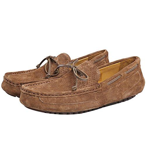 OZZEG hommes cuir Chaussures Slip on porc cuir supérieur mocassins chaussures Café