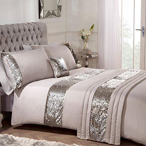 Sienna Kompletter Bettbezug mit Meerjungfrau-Pailletten, gefüllte Kissen, Läufer, Gold glänzend, Bett in Einer Tasche, Naturnerz, Einzelbett -