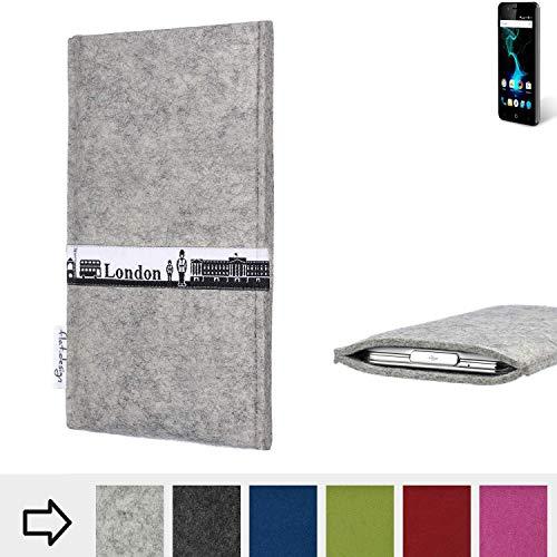 flat.design für Allview P6 Pro Schutz Hülle Handy Case Skyline mit Webband London - Maßanfertigung der Schutztasche Handy-Tasche aus 100% Wollfilz (hellgrau) für Allview P6 Pro
