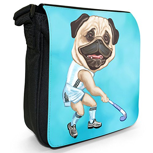 Carlino Sport Atleta Rugby Calcio Tennis Piccolo Nero Tela Borsa a tracolla, taglia S Hockey Playing Pug With Stick