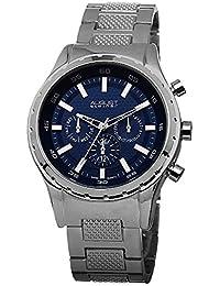 August Steiner Reloj de pulsera de esfera azul multifunción de cuarzo suizo Plateada para Hombre
