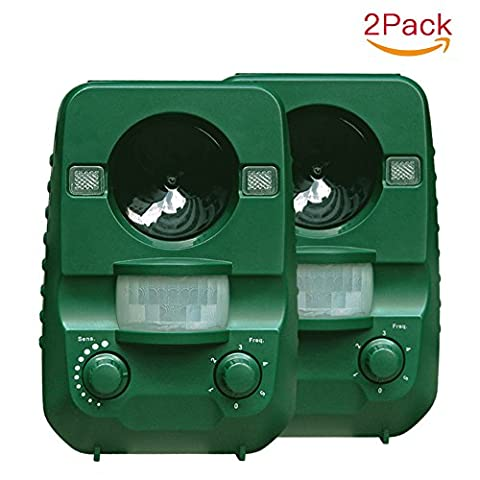 Cat Repellent, AngLink 2-Pack Ultrasonic Animal Repeller Solar Battery Operated Ourdoor Waterproof Electronic Dog Cat Scarer Deterrent with Ground Stake for Garden Yard Field Farm