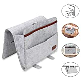 Bedside Storage Pocket Organiser  Bedside Storage Caddy with 6 Pocket, Bedside Organiser Folding Cover and Hanging Belt Combo Perfect for Bunk Beds, Sofa, Bed Rails, Baby Bed, Baby Cart (Grey)