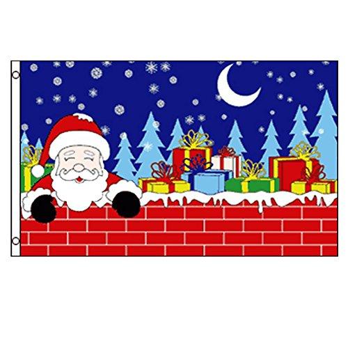 Nochebuena Papá Noel bandera. 5x 3ft. Feliz Navidad