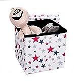 HOMIE Sitzbox, Aufbewahrungskiste, Sitztruhe, Spielzeugkiste, Hocker für Kinder, faltbar (30 x 30 x 30 cm) Weiß mit Sternen
