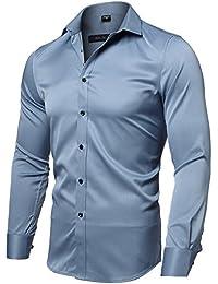 INFLATION Herren Hemd aus Bambusfaser umweltfreudlich Elastisch Slim Fit  für Freizeit Business Hochzeit Reine… b2ff12b49b