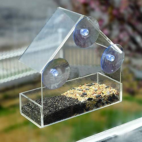 iBàste Comedero para pájaros Tipo de adsorción de acrílico Transparente Forma de la casa Innovador Alimentador de Ventosa Forma de casa Alimentador de Ardillas con Forma de casa Duradero y Resistente