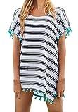 JBY Strandponcho Damen Sommerkleider Strandkleid große größen Poncho Bikini Cover Up Sommer Chiffon Strandhemd mit Pompon Quasten Lose Oberteile Beachwear Minikleider Boho Bademode  one size,  Style4