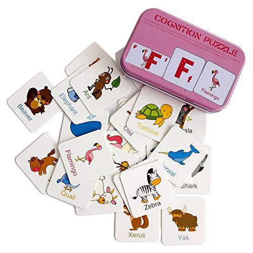 Gobus 56 stücke Flash Cards Erkenntnis Puzzle Karten Geschichte Wörter Form Passenden Puzzle Früherziehung Karte Lernspielzeug in Einer Box (Buchstaben Erkenntnis)