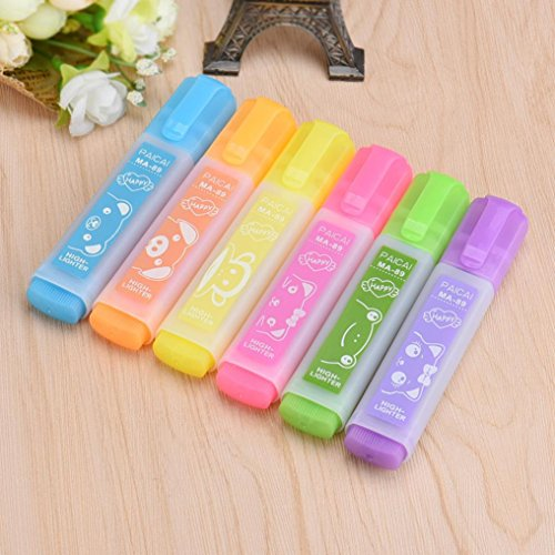 Goodculler carino cancelleria penna fluorescente/colore colorato evidenziatore marker–confezione da 6penne–gesso per lavagna, lavagna, lavagna, finestra, vetro, bistro