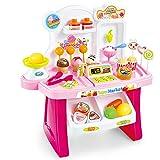 HERSITY 34 Stück Eiscreme Spielzeug EIS Shop DIY Lernspielzeug Supermarkt Rollenspiele Geschenkset für Kinder Mädchen