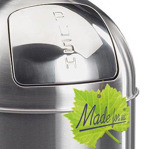 Made for us 50 Liter Edelstahl Retro PUSH-Abfalleimer mattiert 20er-Jahre Mülleimer nostalgie Küchen-Mülleimer Abfall-Behälter - Edelstahl Push-deckel