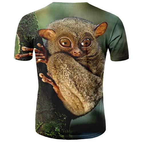 Fenverk Herren T-Shirts 3D Muster Kurzen Ärmels Kurzarm Shirt Sport Hawaiihemd Herren 3D Drucken Lässig Button Down (Khaki,XXXL)
