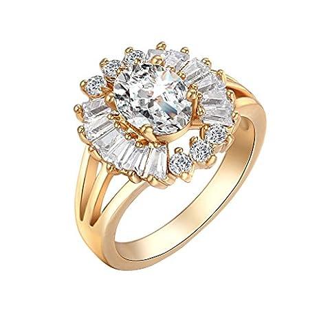 YAZILIND 18K Very Big White Rhinestone Flower Shape Ring Gold Plated Mature Women Size R 1/2
