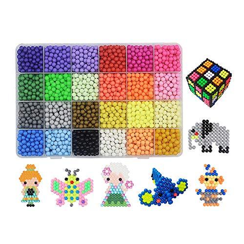 MJARTORIA 24 Farben Kinder Aquabeads Bastelset mit Steckplatte Steckperlen DIY Wasser Klebrig Perlen Cartoon Bastelperlen Weihnachten Geschenkset