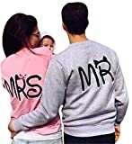Minetom Couples Hommes Femme Manches Longues Col Rond Pullover Sweat à Capuche Hoodie Pull Sweatshirt Tops Chemisiers Impression de Lettres Mr Mrs Hoodie FR 38(Femme)