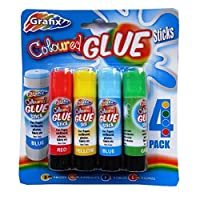 Coloured Childrens Glue Sticks - Pack of 4 Colours - by Grafix