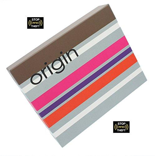 Mala ORIGINE cuoio della carta Pelle Collection Holder / borsa con RFID 5116_5 Brown Purple