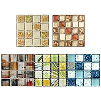 Innersetting 20pcs / Set DIY Impermeable Autoadhesivo 3D Pegatinas de Pared Mosaico calcomanía de Azulejos
