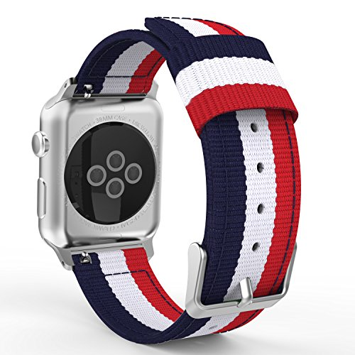 MoKo Correa para Apple Watch 38mm - Adjustable Reemplazo Band Deportiva con Fino Tejido de Nilón para Apple Watch 38mm Series 1 2015 & Series 2 2016 Todos los modelo (No Apta 42mm), Azul&Blanco&Rojo