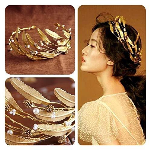 AA-SS- Women's Headpiece Europäische Retro barocke Krone Braut Tiara Stirnband Haarschmuck Blattgold Sen weiblichen Kleid - Blattgold Stirnband Kostüm