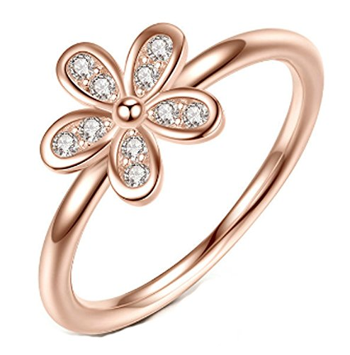 SaySure- 925 Sterling Silver Rings Dazzling Daisy Rose Gold (SIZE : 8)