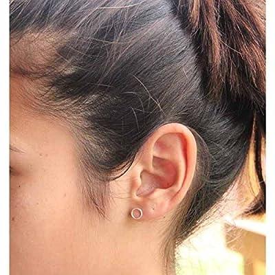 Boucles d'oreilles puces rond / cercle ajouré en argent 925