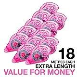 Fullmark Adhésif Permanent/Roller de Colle 10 pièces + 2 gratuites 6 mm x 18 m Rose