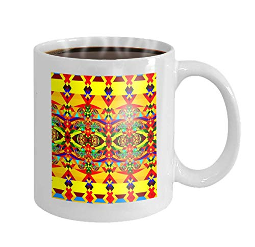 11 oz Coffee Mug Colorful Pattern Geometric Background Art Digital Fractal Chaotic Decorative Image Wallpaper Psychedelic Novelty Ceramic Gifts Tea Cup