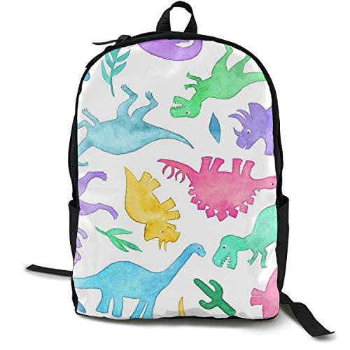 Ditsy Dinos In Bright Pastels On White - Large Print Adult Premium Travel Backpack, Water-Resistant College School Bookbag, Sport Daypack, Outdoor Rucksack, Laptop Bag for Men&Women Bright Side Bag