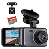 【SD Card Included】Dash Cam for Cars Front and Rear Dual Cameras FHD 1080P with Night Vision, 3 inches Display, Driving Recorder with G-sensor, Parking Monitoring, Loop Recording (Silver 1080P)