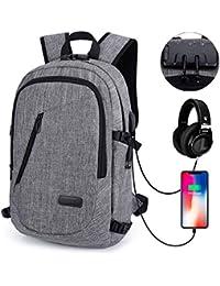 Eray Schulrucksack Laptop Rucksack mit USB Ladeport Kopfhöreranschluss und Anti-Diebstahl Schloß für Business, Reisen Camping, Schultasche Wasserdicht
