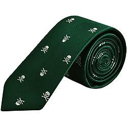 Alizeal Calavera-Corbata Estrecha para Hombre Verde Oscuro