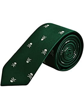Alizeal Calavera–Corbata Estrecha para Hombre