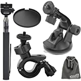 EEEKit 5in1 Bike Car Mount Kit for Contour ROAM ROAM2 ROAM Plus 2 ROAM3 Action Camera,Handheld Monopod,Bike Handlebar Mount,Car Suction Cup Mount