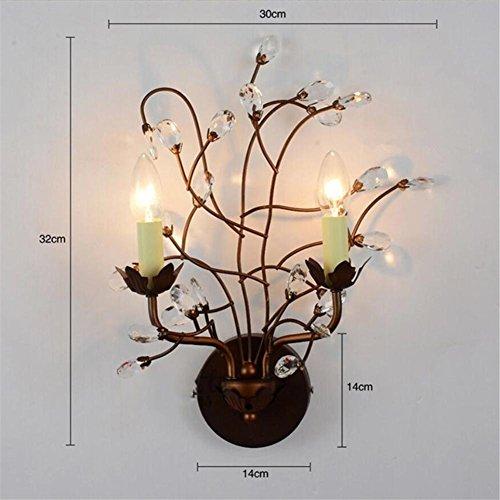 L&R Amerikanischer Baum Zweig Eisen Bett Kopf Wand Lampe Studie Schlafzimmer Europäische Stil Wohnzimmer Wand Lampe Bar Kristall Lampe (Twin-schwarz-holz-bett)