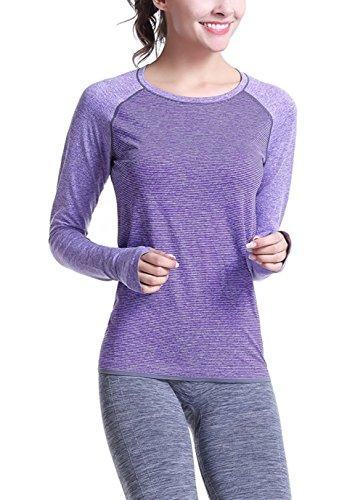 SANKE Womens Gym Yoga Sports Active Stripe à manches longues à bascule Basic Tee Violet
