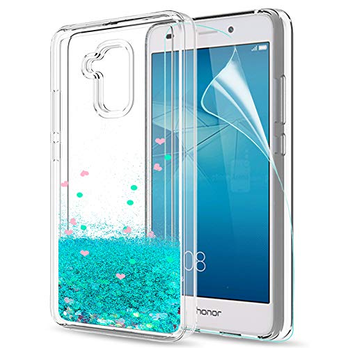 LeYi Hülle Huawei Honor 5C Glitzer Handyhülle mit HD Folie Schutzfolie,Cover TPU Bumper Silikon Flüssigkeit Treibsand Clear Schutzhülle für Case Huawei Honor 5C Handy Hüllen ZX Turquoise