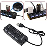 RK Collections 4 Port Ultra High Speed USB Hub 480 Mbps For Laptop Desktop 2.0 Hub With Individual On/Off Power Switches And LEDs