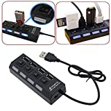 #9: RK Collections 4 Port Ultra High Speed USB Hub 480 Mbps for Laptop Desktop 2.0 Hub with Individual On/Off Power Switches and LEDs