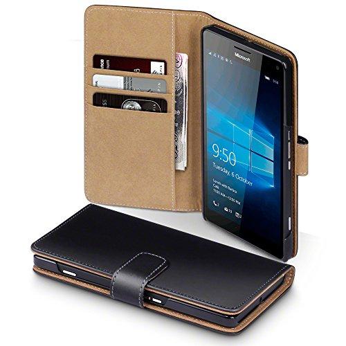 Microsoft Lumia 950 XL Case, Terrapin Handy Leder Brieftasche Case Hülle mit Kartenfächer für Microsoft Lumia 950 XL Hülle Schwarz mit Hellbraun Interior