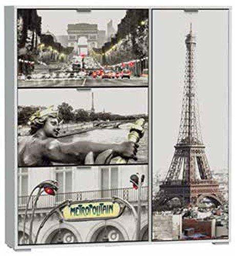 Commode à chaussures de 3 tiroirs + porte pour bottes, laqué blanc motif Paris, 1200 x 242 x 1294 mm -PEGANE-
