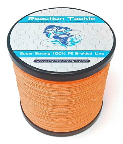 Reaction Tackle Hochleistungs-Angelschnur, geflochten, Neon-Orange, 25LB (300 Yards)