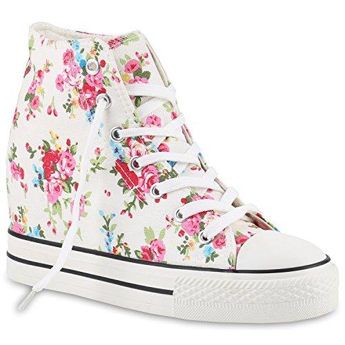 Stiefelparadies Damen Sneakers High Top Keilabsatz Blumen Sneaker-Wedges Schuhe 139849 Weiss Blumen 38 - Unauffällig Kostüm
