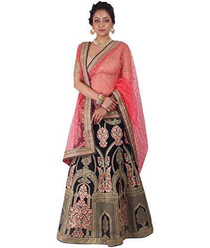 Indian Ethnicwear Bollywood Pakistani Wedding Navy Blue A-Line Lehenga Semi-stitched