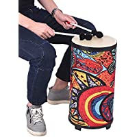 Muslady Tambor de suelo de 10 pulgadas Conga Konga Tambor de tambor de mano Diseño de 3 pies con tela atractiva Art Surface Instrumento de percusión para recopilar la práctica de ritmo