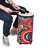 Muslady Conga Tamburo del Pavimento 10 Pollici Drum Tamburo a Mano Design a 4 Piedi con Attraente Superficie d'arte del Tessuto Strumento a Percussione per Raduno Pratica del Ritmo