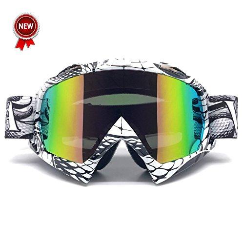 Goldbeing Sportbrille Motorrad Goggle Motocross Wind Staubschutz Fliegerbrille Snowboardbrille Skibrille Wintersport Brille Dirtbike Off-Road Schutzbrille Radsportbrille für Männer Frauen & Jugend (Weiße Rahmen Bunte Linse)