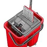 ULTRAnet Wischmopp EasyClean Set - rückenschonender Bodenwischer mit Eimer und Wischtuchpresse - Reinigungsstarker Wischer mit Drehgelenk - Fußbodenwischer Mop Parkettwischer Schrubber